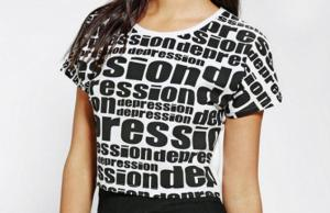 A crop top that reads 'depression' over and over and over again